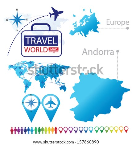 Andorra. Map. Europe. Modern globe. Travel vector Illustration. - stock vector