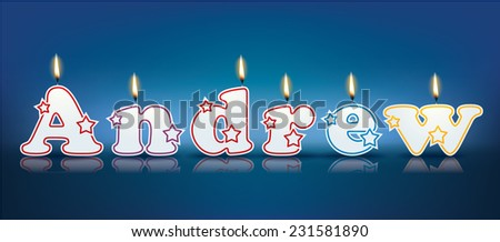 ANDREW written with burning candles - vector illustration