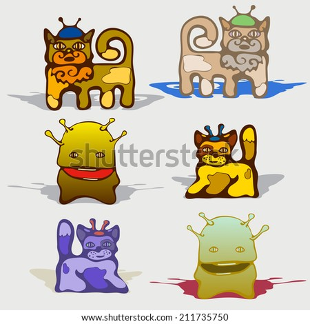 Android animal with an antenna. Comic picture of a small robotic.Creature, animal, vector illustration. - stock vector