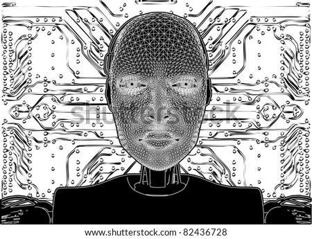 Android Reveals Internal Technology Of Their Electrical Circuit Vector 07 - stock vector