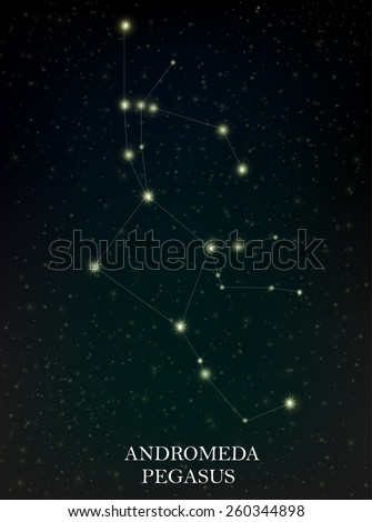 Andromeda and Pegasus constellation - stock vector