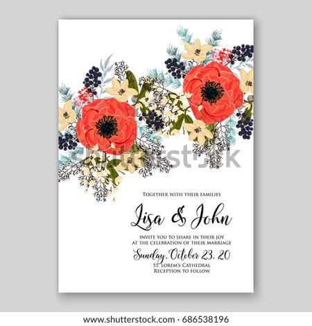 Anemone red poppy wedding invitation vector stock vector 686538196 anemone and red poppy wedding invitation vector template stopboris Images