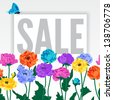 anemone; colorful; summer; sale, discount - stock vector