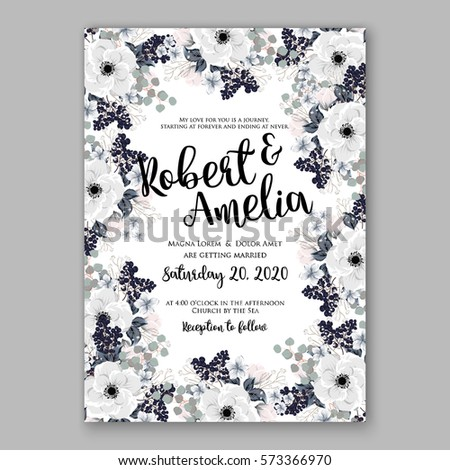 Pink floral wedding invitation stock images royalty free images anemone wedding invitation card template floral bridal wreath bouquet with wight flowers peony eucalyptus branches stopboris Images