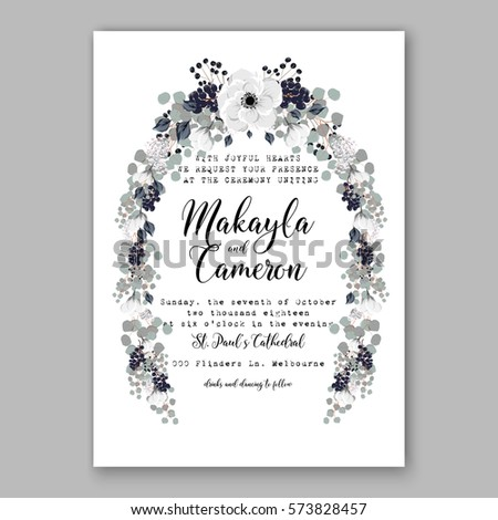 Wedding card background stock images royalty free images anemone wedding invitation card template floral bridal wreath bouquet with wight flowers peony eucalyptus branches pronofoot35fo Gallery