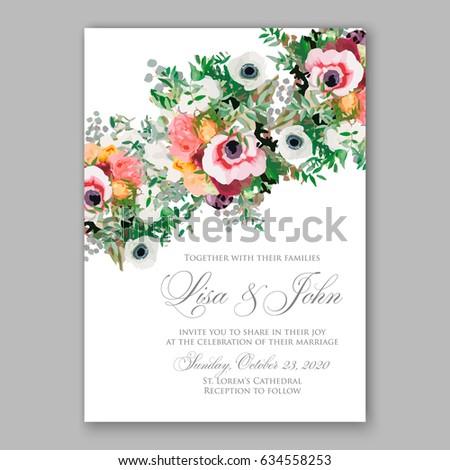 Anemone wedding invitation vector template stock vector 634558253 anemone wedding invitation vector template stopboris Images