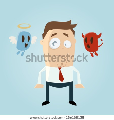 angel and devil affecting a thoughtful cartoon man - stock vector