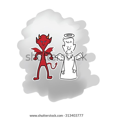 Angel and Devil cartoon drawing