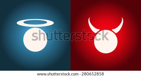 Angel and Devil Glowing Signs, Vector Illustration. - stock vector
