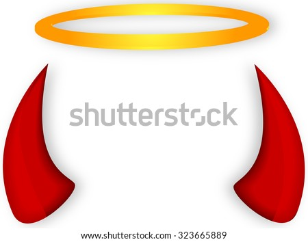 Angel Devil Horns Halo Stock Vector 323665889 Shutterstock
