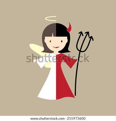 Angel and devil illustration - stock vector