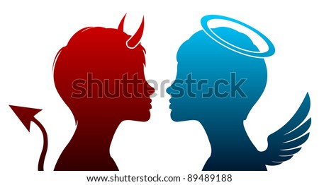 Angel and devil silhouette - stock vector