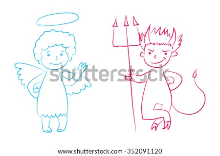 Angel and devil vector illustration - boys cartoon character. Hand drawn graphic clip art. Childish style drawing. Sketchy funny angel, cute little devil. Outline. Isolated. Eps 10. - stock vector