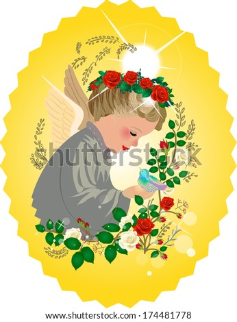 angel and roses - stock vector
