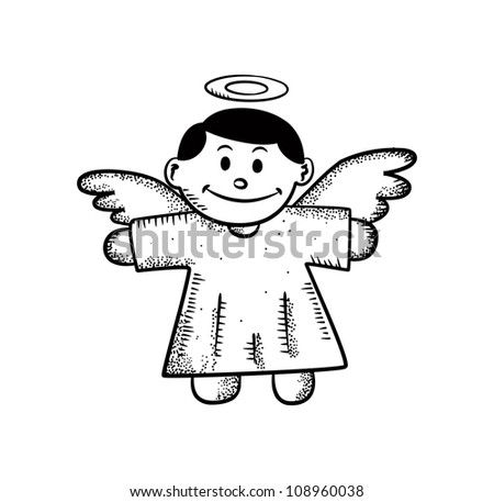 angel Christmas decoration doodle - stock vector