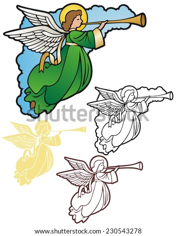 Angel corner ornament with variations - stock vector