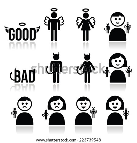Angel, devil man and woman icon set  - stock vector