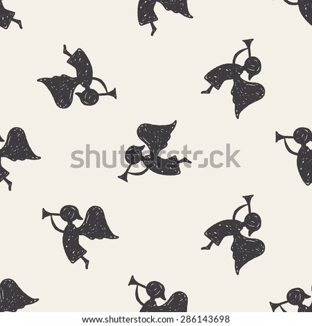 angel doodle seamless pattern background - stock vector