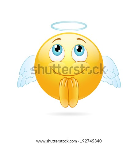Angel emoticon  on a white background. Vector - stock vector