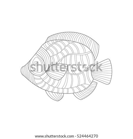 Angel Fish Sea Underwater Nature Adult Black And White Zentangle Coloring Book Illustration