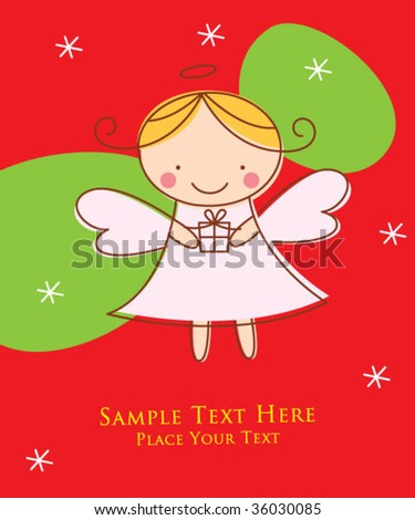 angel girl greeting card - stock vector
