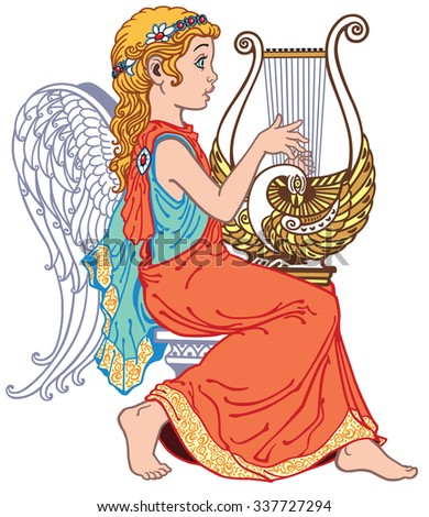 angel girl playing lyre , side view isolated image