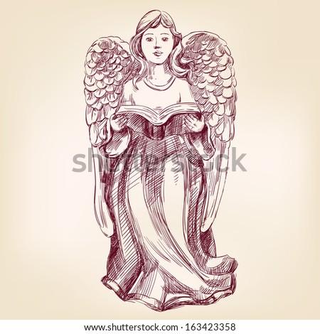 angel hand drawn vector illustration realistic sketch - stock vector