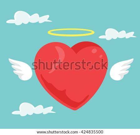 Angel heart. Vector flat cartoon illustration - stock vector