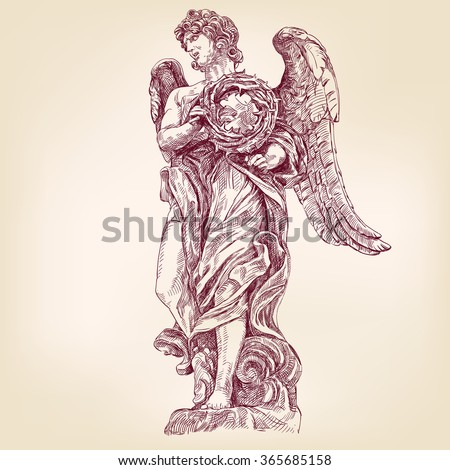 angel holding a crown of thorns hand drawn vector llustration realistic sketch - stock vector