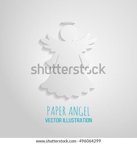 Angel Icon Paper Angel On White Stock Vector 496064299 - Shutterstock