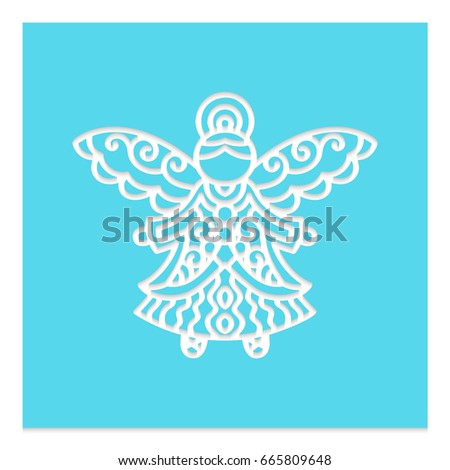 Christmas angel pattern vector laser cutting stock vector for Angel tree decoration template