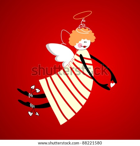 Angel of love, happiness and harmony. Vector. - stock vector