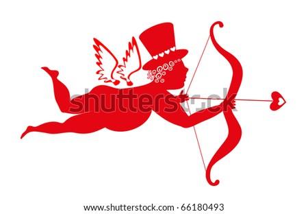 angel on white background - stock vector