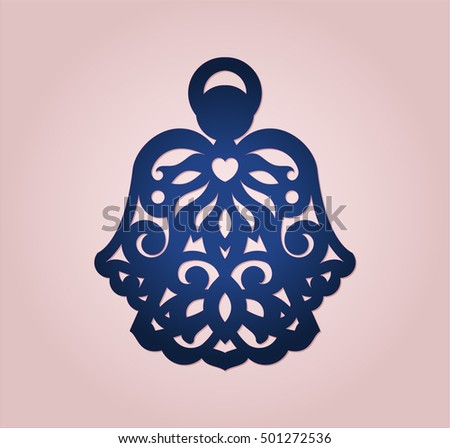 Angel ornament wood paper laser cutting stock vector for Angel tree decoration template