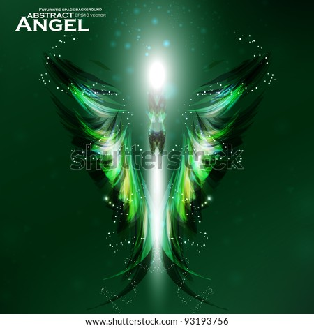 Angel vector futuristic background, wing illustration eps10 - stock vector