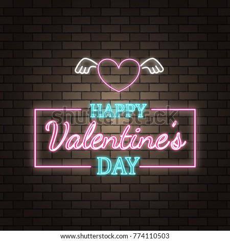 Neon Happy Valentineu0027s Day Banner. Valentine Lamp Romance Heart Shape.  Colored
