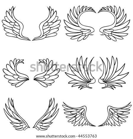 Angel wings isolated on a white background. - stock vector