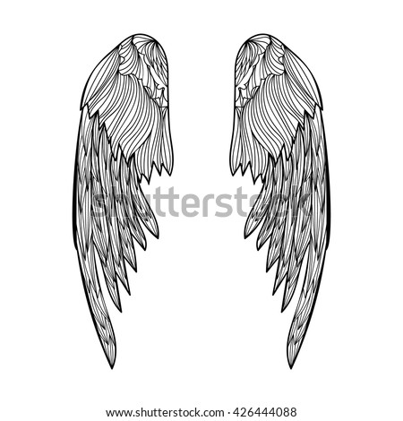 Angel wings. Vector illustration for adult coloring book, tattoo and t-shirt design. Black and white hand drawn wings.  - stock vector