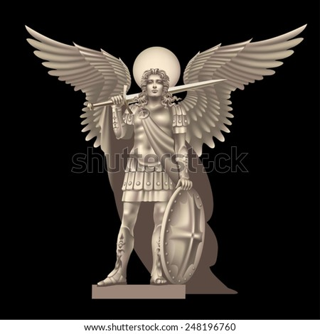 Angel with a sword on a black background - stock vector