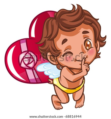 angel with heart as a present - stock vector