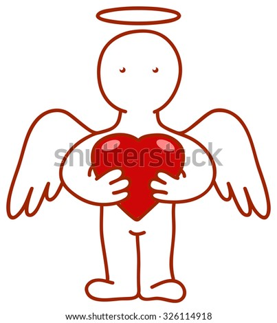 Angel with heart in hands. Vector illustration