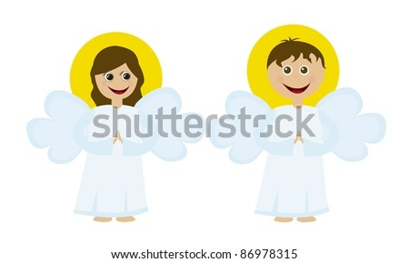 angels cartoons isolated over white background. vector - stock vector