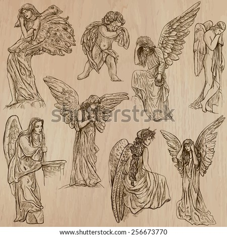 ANGELS. Collection of an hand drawn illustrations (vectors - pack no.2). Each drawing comprises of two or three layers of outlines, the colored background is isolated. - stock vector