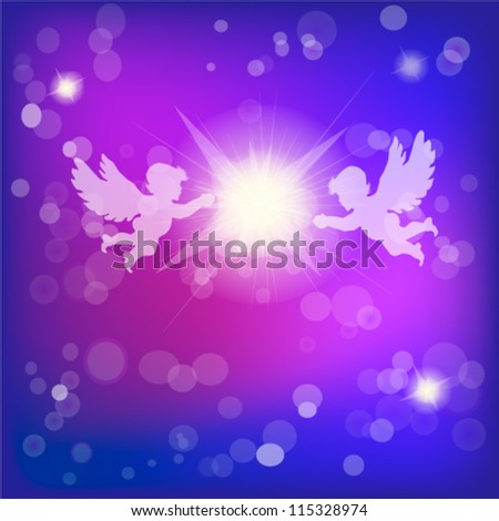 angels with Christmas star - stock vector