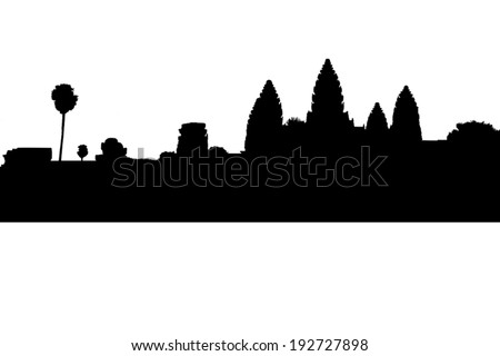 Angkor Wat silhouette at Siem Reap. Cambodia - stock vector