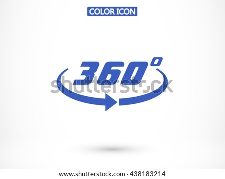 Angle 360 degrees sign icon