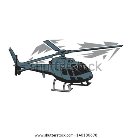 Angled Helicopter - stock vector
