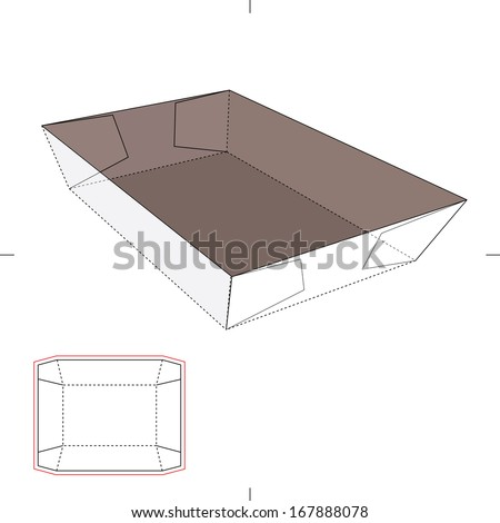 paper food tray template - angled tray with blueprint layout stock vector