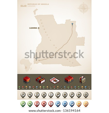 Angola and Africa maps, plus extra set of isometric icons & cartography symbols set - stock vector