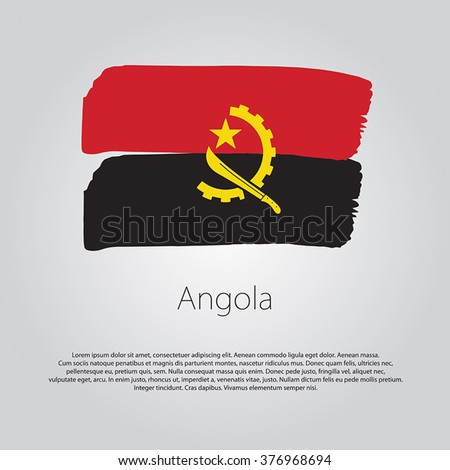 Angola Flag with colored hand drawn lines in Vector Format